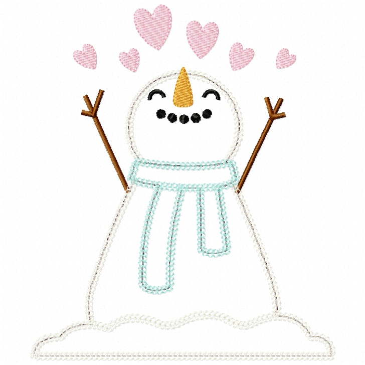 Hearts Snowman Vintage and Chain Stitch