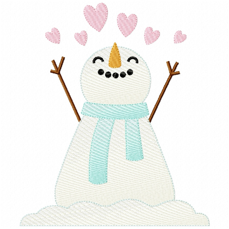 Hearts Snowman Sketch Filled Stitch