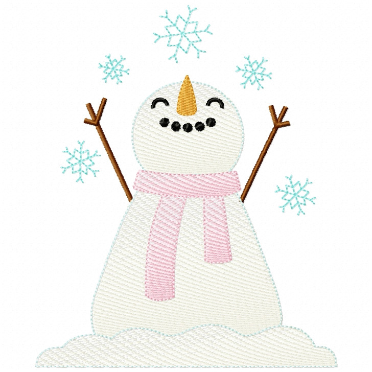 Snowflakes Snowman Sketch Filled Stitch
