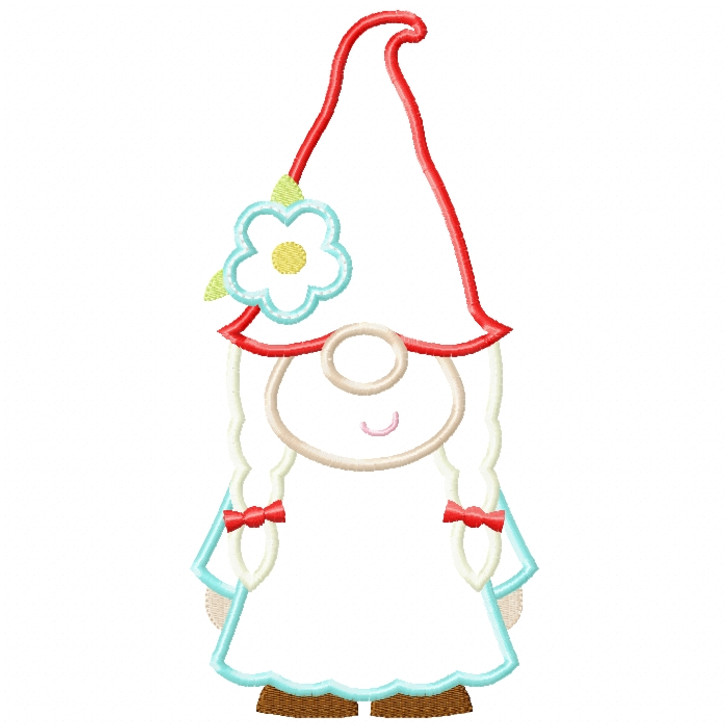 Girl Gnome Satin and ZigZag Stitch