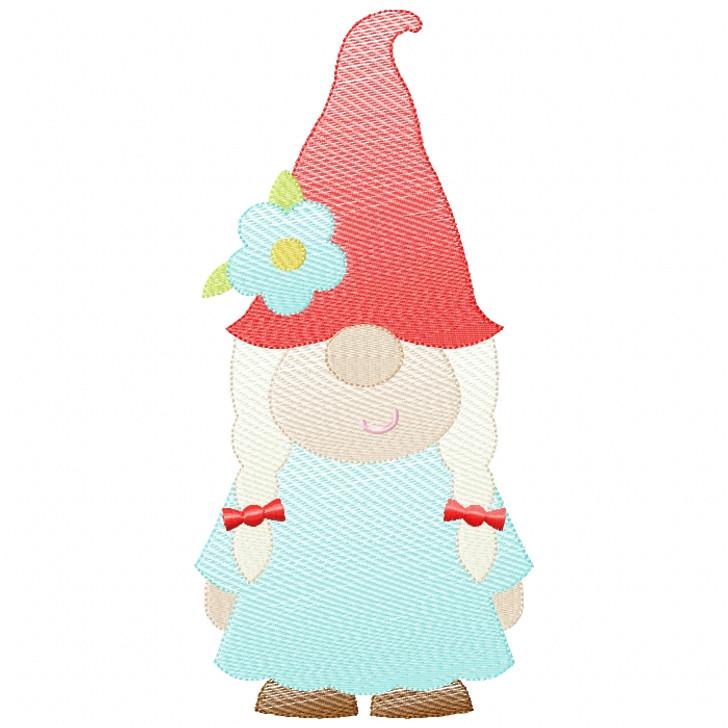 Girl Gnome Sketch Filled Stitch