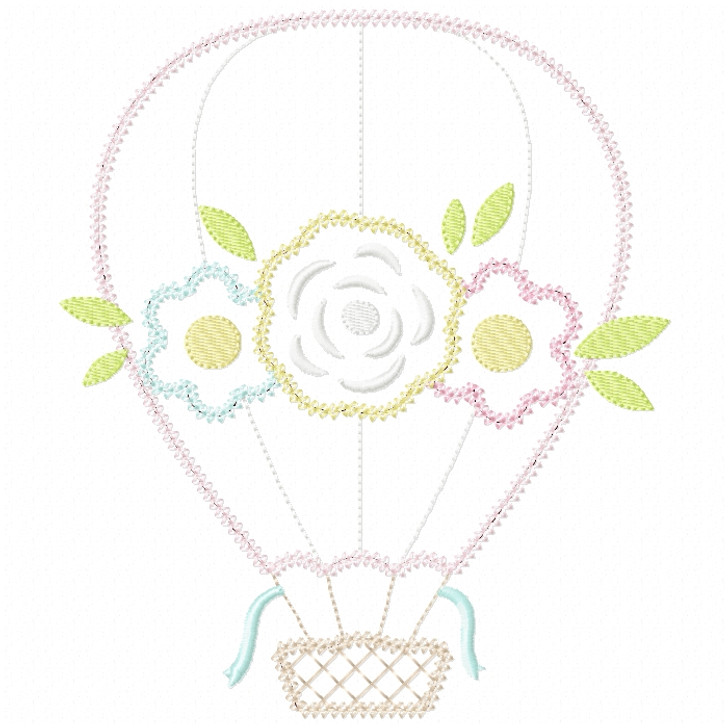 Floral Hot Air Balloon  Vintage and Chain Stitch