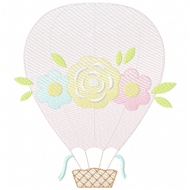 Floral Hot Air Balloon Sketch Filled Stitch