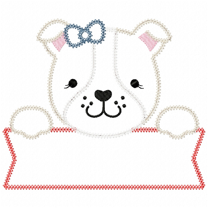 Girly Bulldog Banner Vintage and Chain Stitch