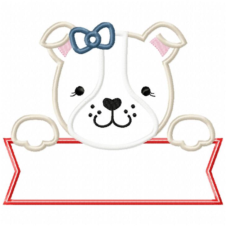 Girly Bulldog Banner Satin and ZigZag Stitch