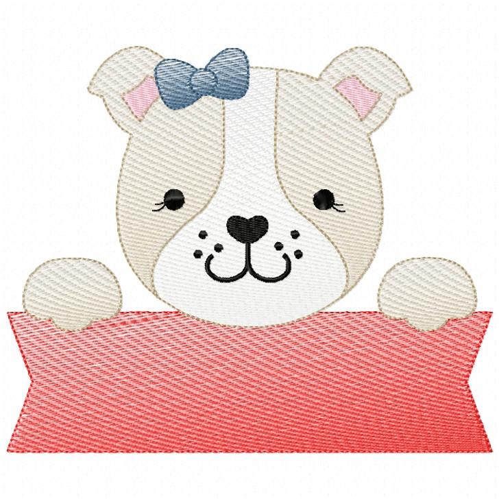 Girly Bulldog Banner Sketch Filled Stitch