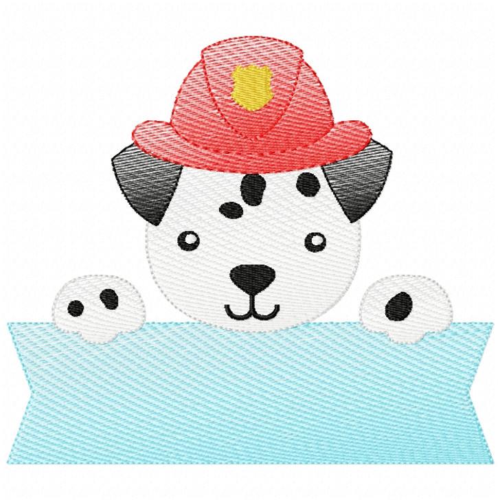 Dalmatian Banner Sketch Filled Stitch