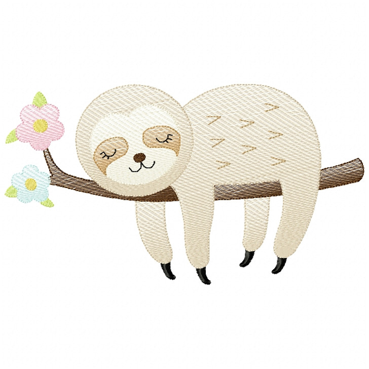 Girl Sleeping Sloth Sketch Filled Stitch