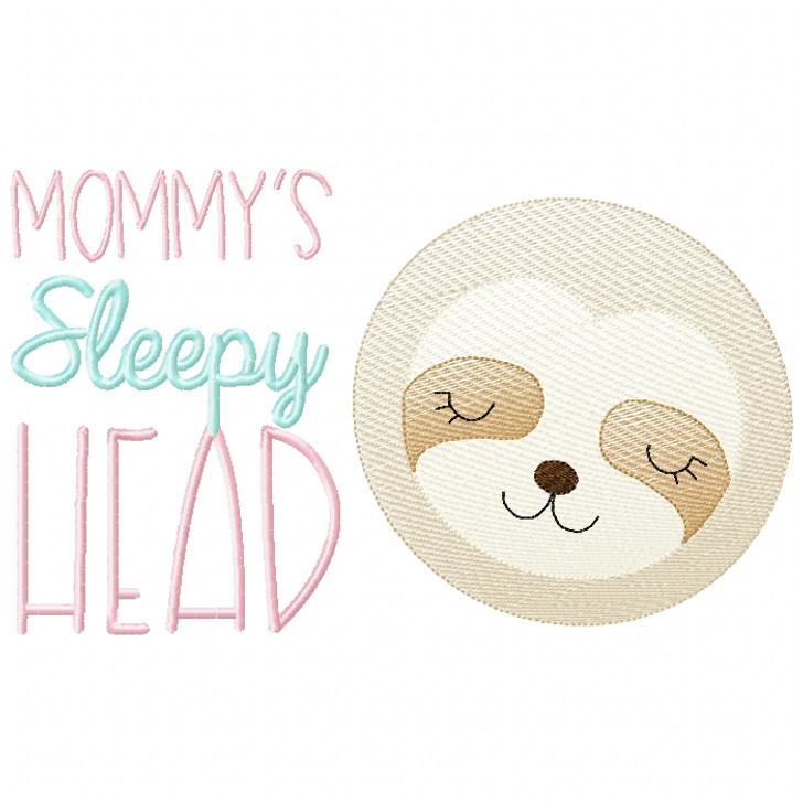 Sleepy Head Sloth Sketch Filled Stitch