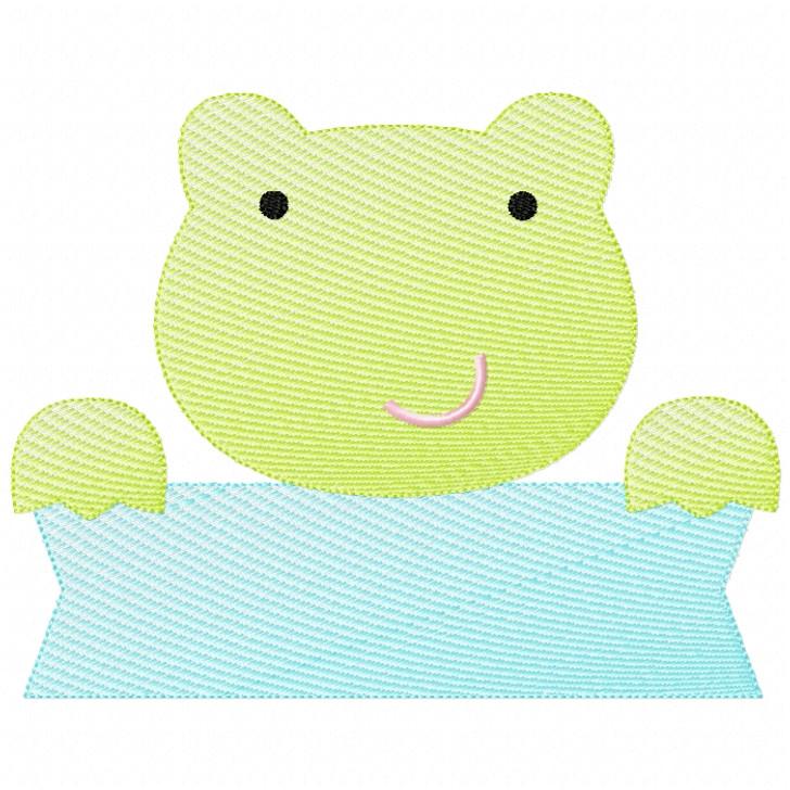 Frog Banner Sketch Filled Stitch