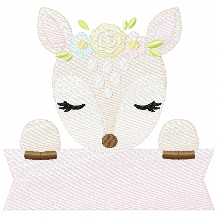 Sweet Fawn Banner Sketch Filled Stitch
