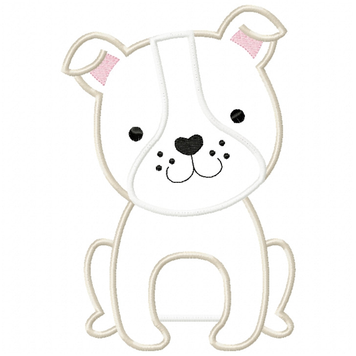 Bulldog Puppy Satin and ZigZag Stitch