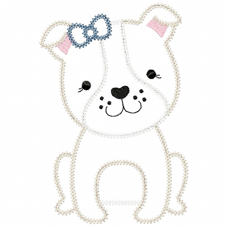 Girl Bulldog Puppy Vintage and Chain Stitch