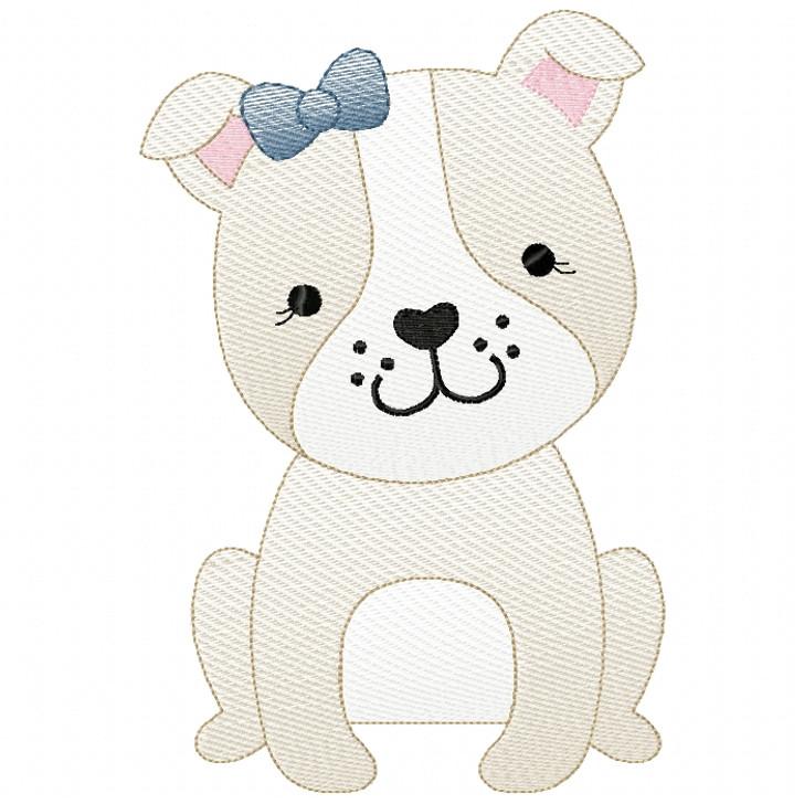 Girl Bulldog Puppy Sketch Filled Stitch