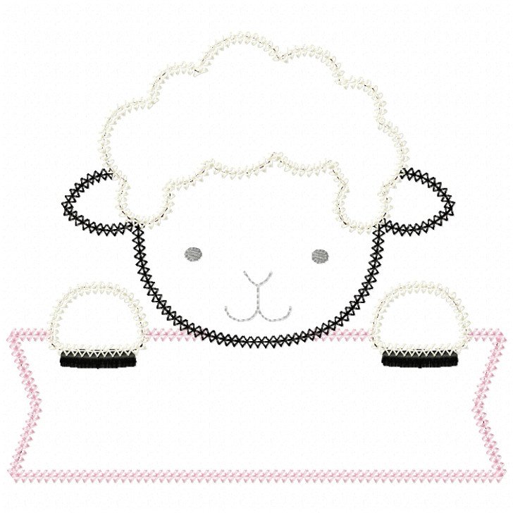 Lamb Banner Vintage and Chain Stitch