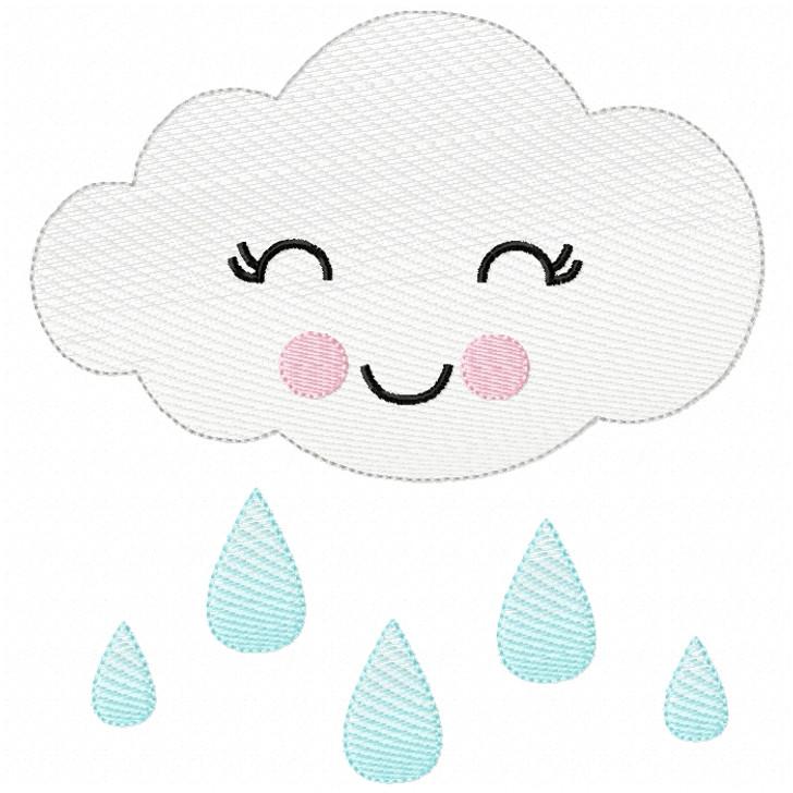 Girly Raincloud Sketch Filled Stitch