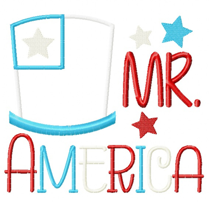 Mr America Satin and Zigzag Applique