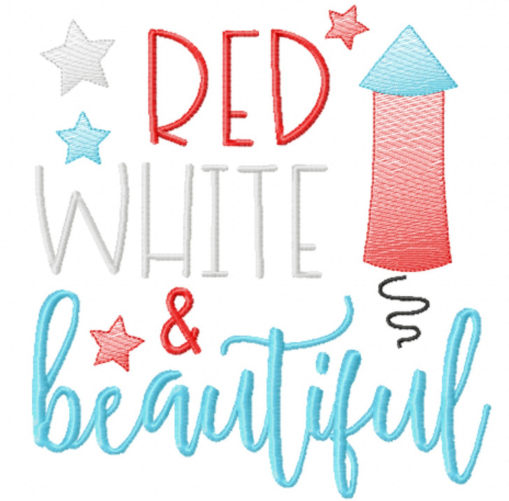 Red White and Beautiful Sketch Applique