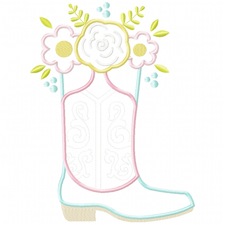 Floral Cowgirl Boot Satin and Zigzag Applique