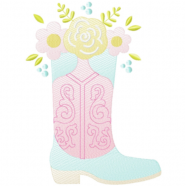 Floral Cowgirl Boot Sketch Applique
