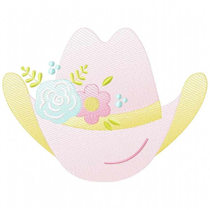 Floral Cowgirl Hat Sketch Applique