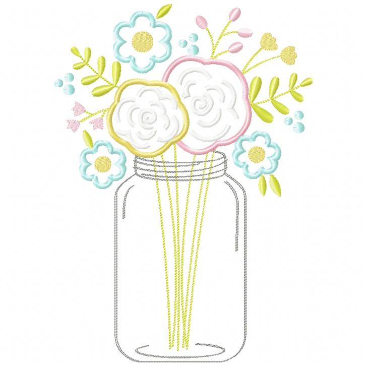 Floral Mason Jar Satin and Zigzag Applique