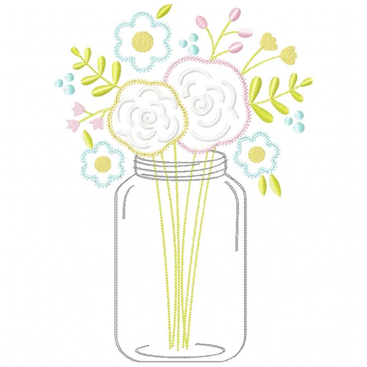 Floral Mason Jar Chain and Vintage Applique