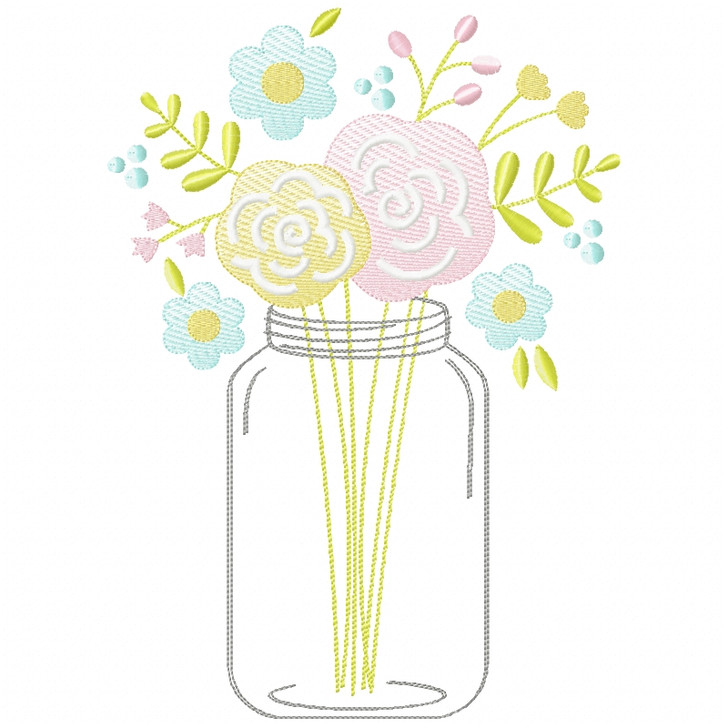 Floral Mason Jar Sketch Applique