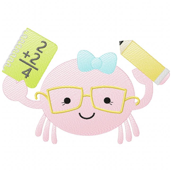 Girly Back to School Crab Sketch Applique