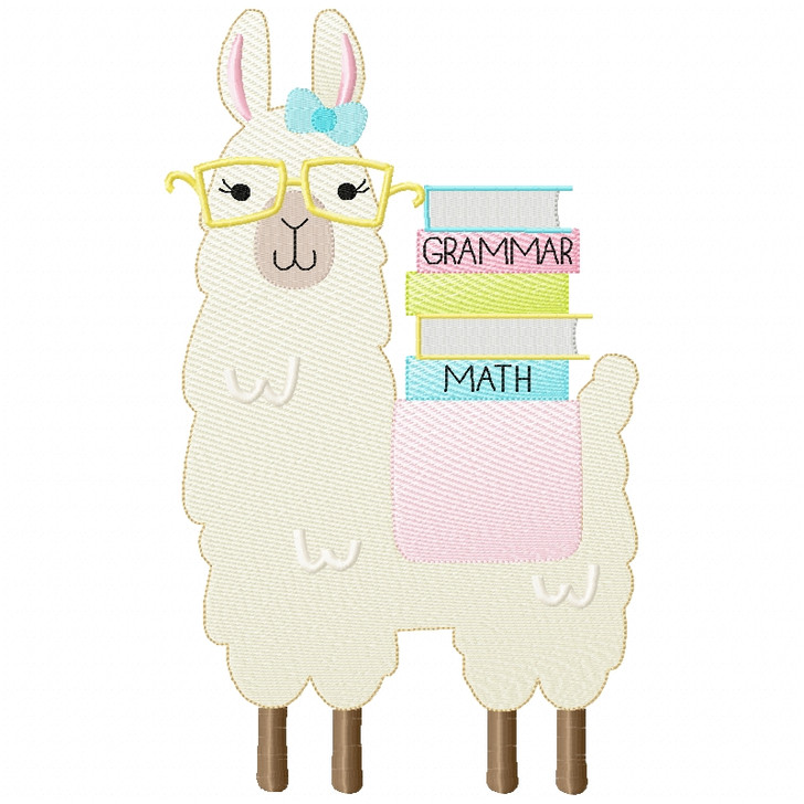 Girly Llama and Books Sketch Applique