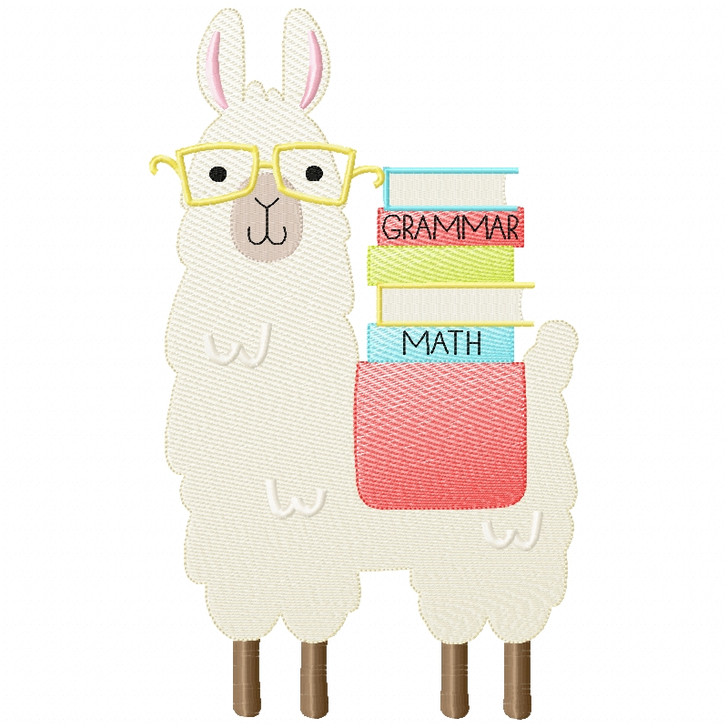 Llama and Books Sketch Applique