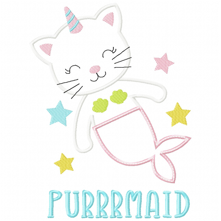 Purrrmaid Satin and ZigZag Applique