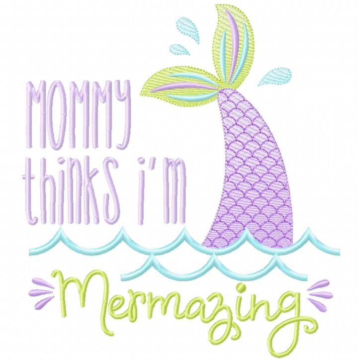 Mommy Mermazing Sketch Applique