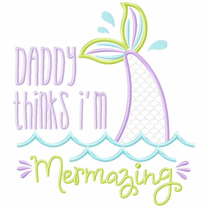 Daddy Mermazing Satin and Zigzag Applique