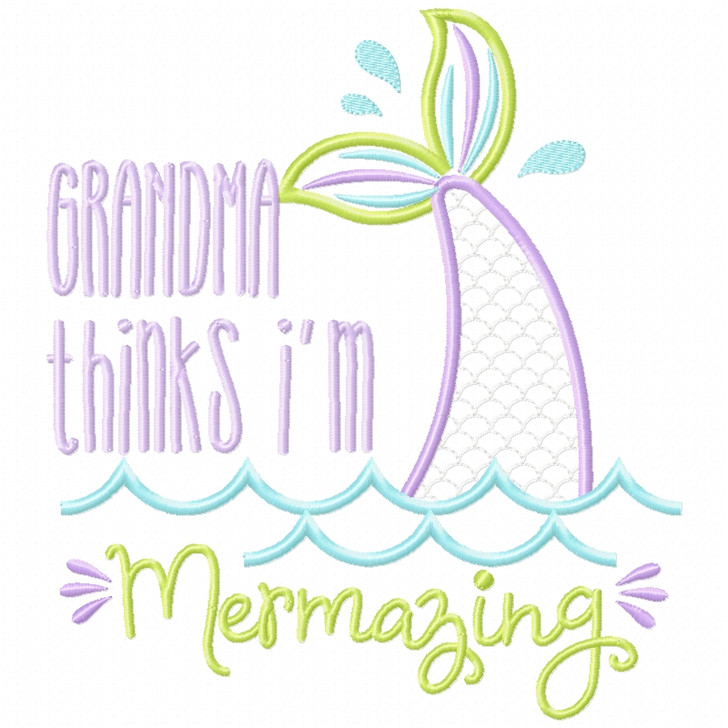 Grandma Mermazing Satin and Zigzag Applique