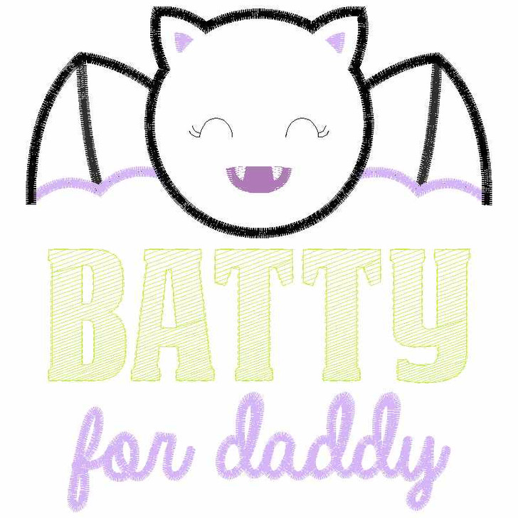 Batty For Daddy Satin and Zigzag Applique