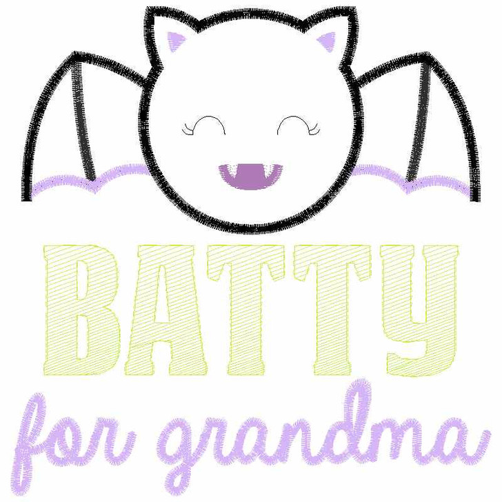 Batty For Grandma Satin and Zigzag Applique