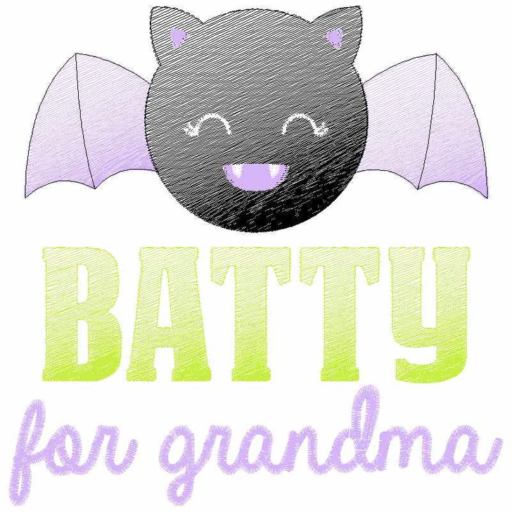 Batty for Grandma Sketch Applique
