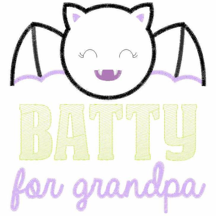 Batty For Grandpa Satin and Zigzag Applique