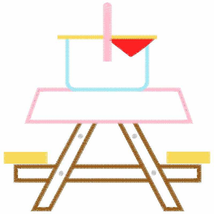 Cute Picnic Table Satin and Zigzag Applique