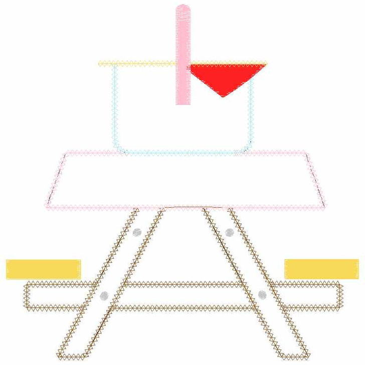 Cute Picnic Table Chain and Vintage Applique