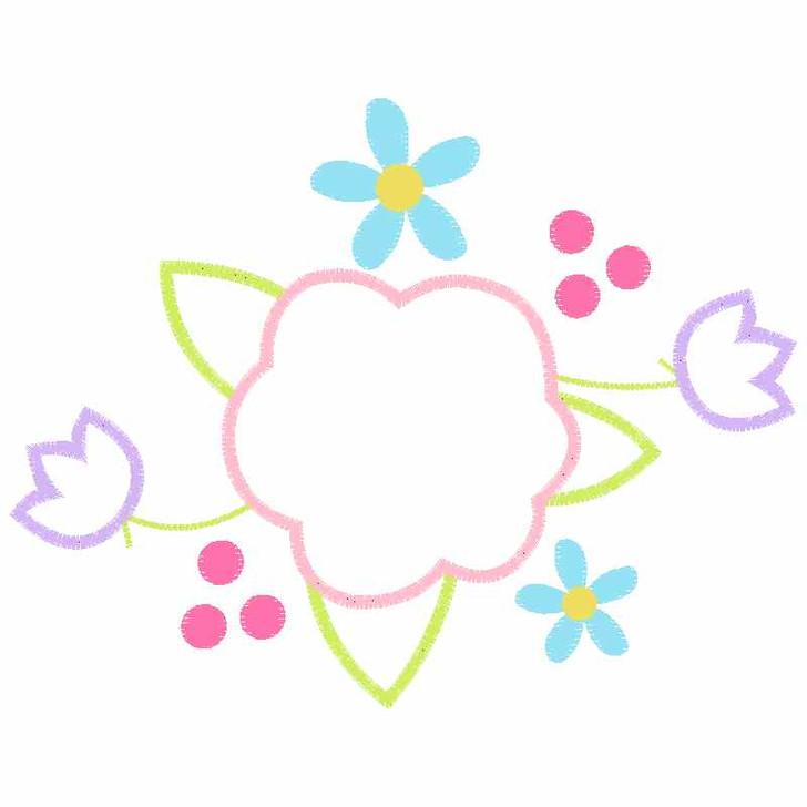 Floral Spray Satin and Zigzag Applique