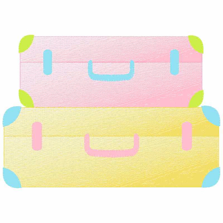 Stacked Suitcases Sketch Applique
