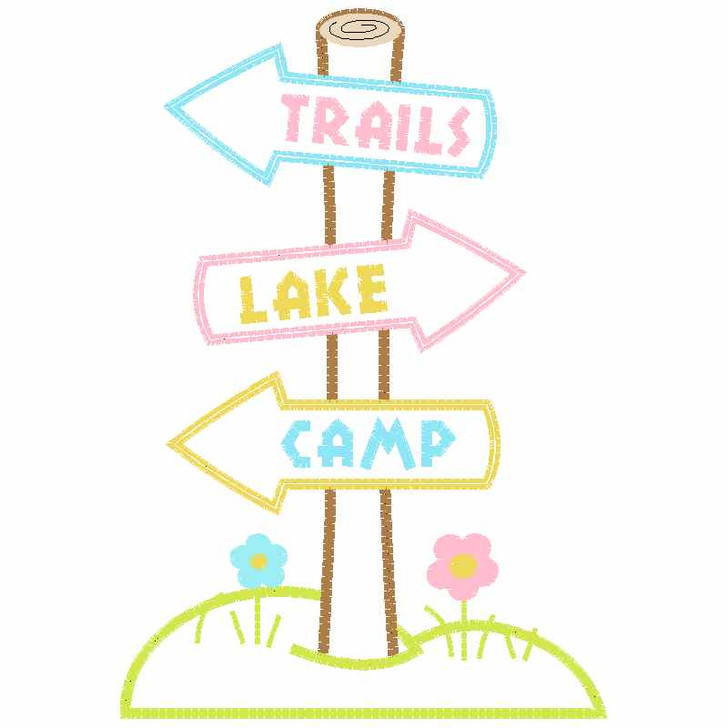Trail Signs Satin and Zigzag Applique