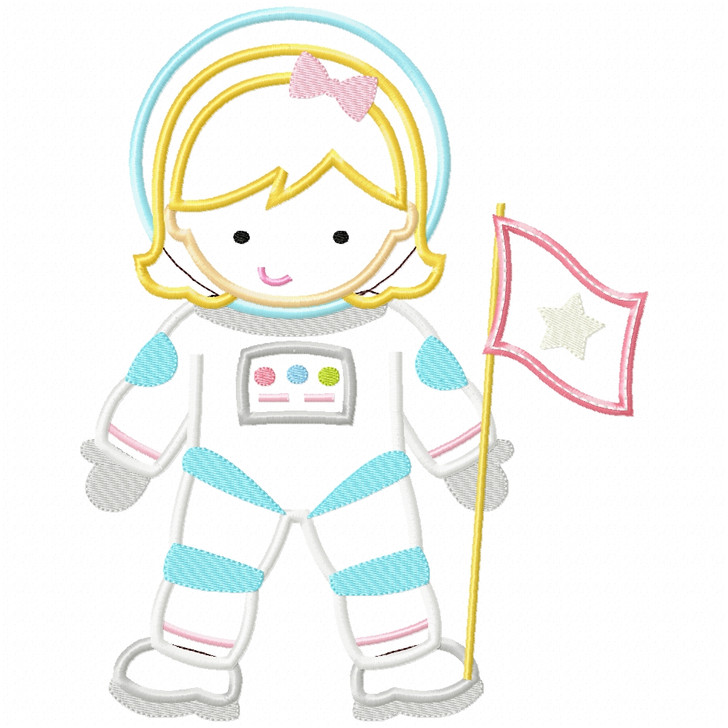 Astronaut Girl Satin and Zigzag Applique