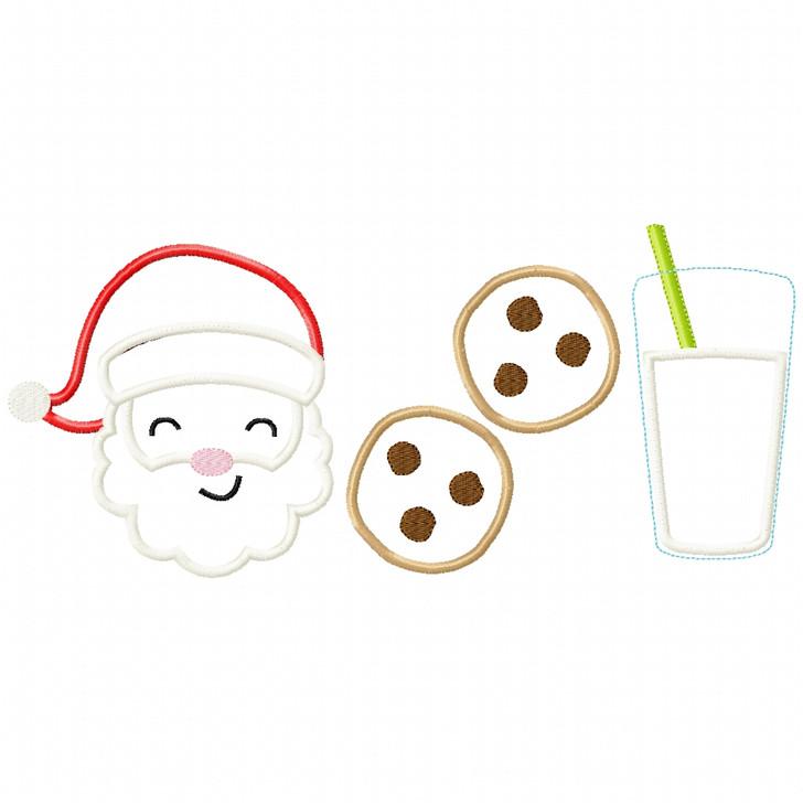 Santa -Cookies - Milk  Satin and Zigzag Applique