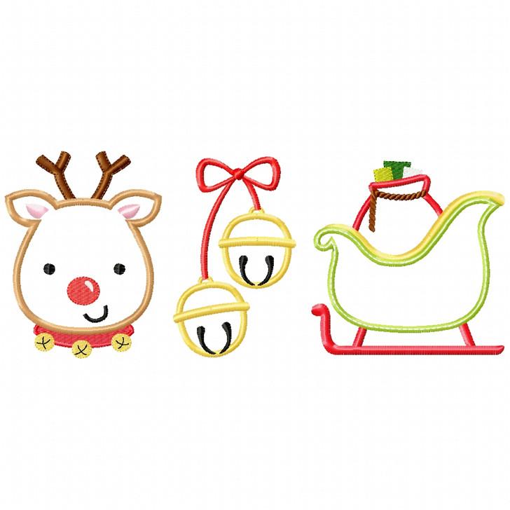 Reindeer - Bells - Sleigh Satin and Zigzag Applique