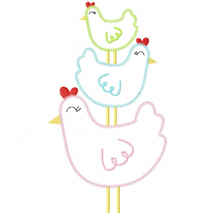 Stacked Chickens Vintage and Chain Stitch
