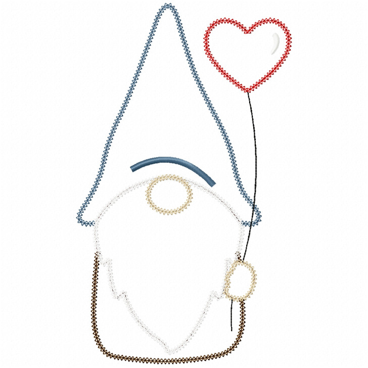 Valentine Gnome Vintage and Chain Stitch
