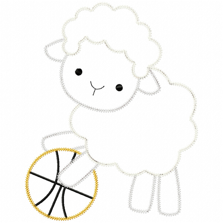 Basketball Lamb Vintage and Chain Stitch